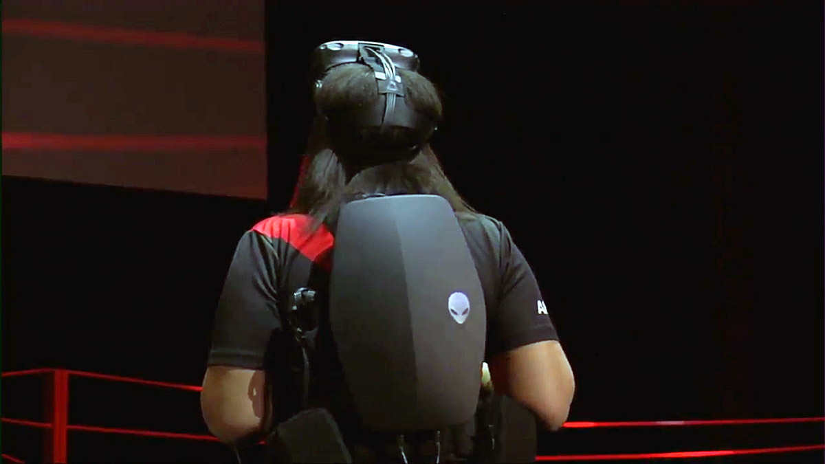 Close up of Alienware VR backpack