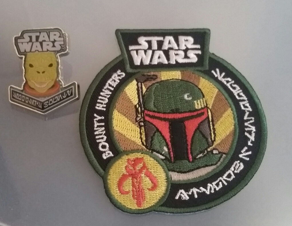 Bossk pin and Boba Fett patch