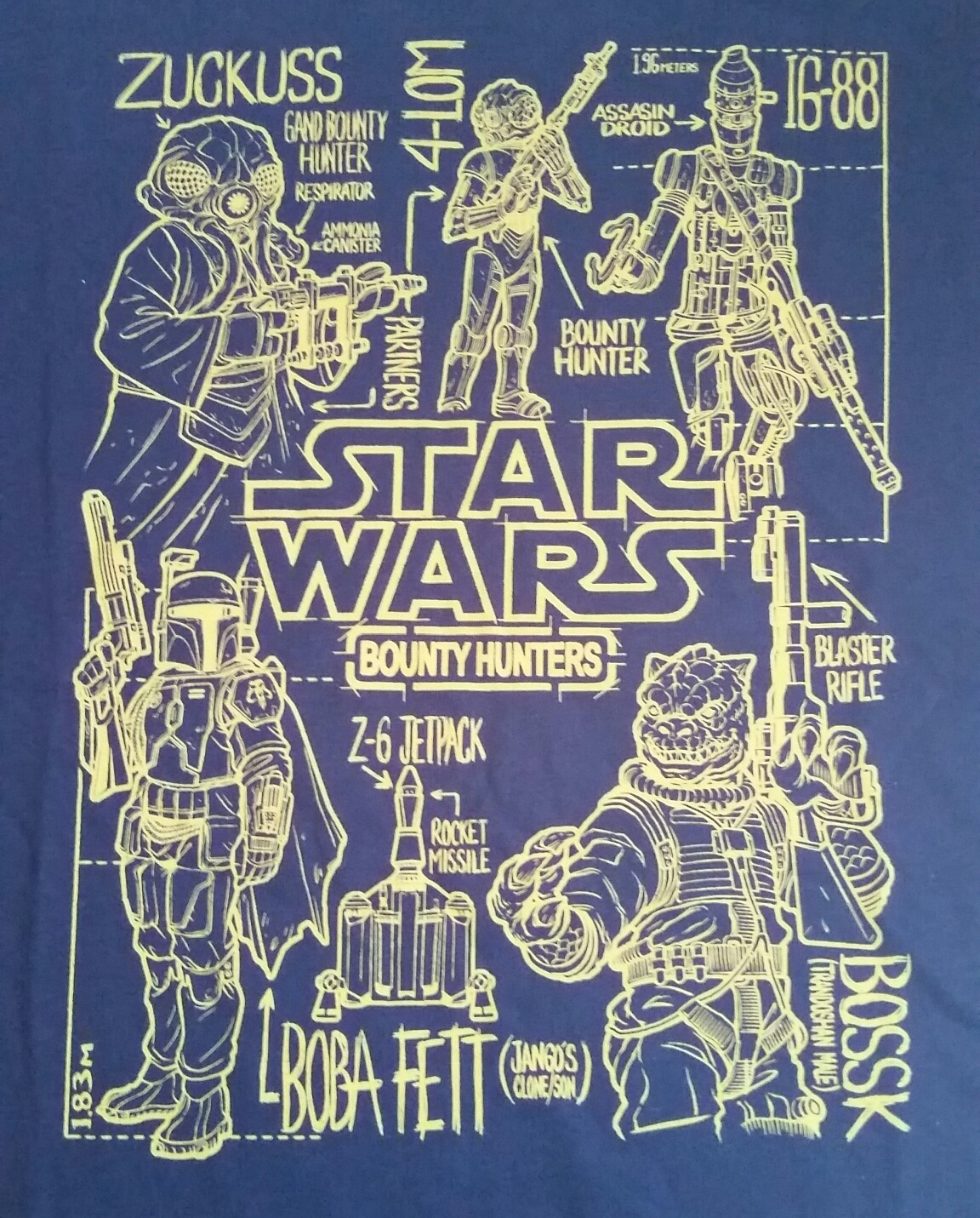 Close up of the Bounty Hunters shirt