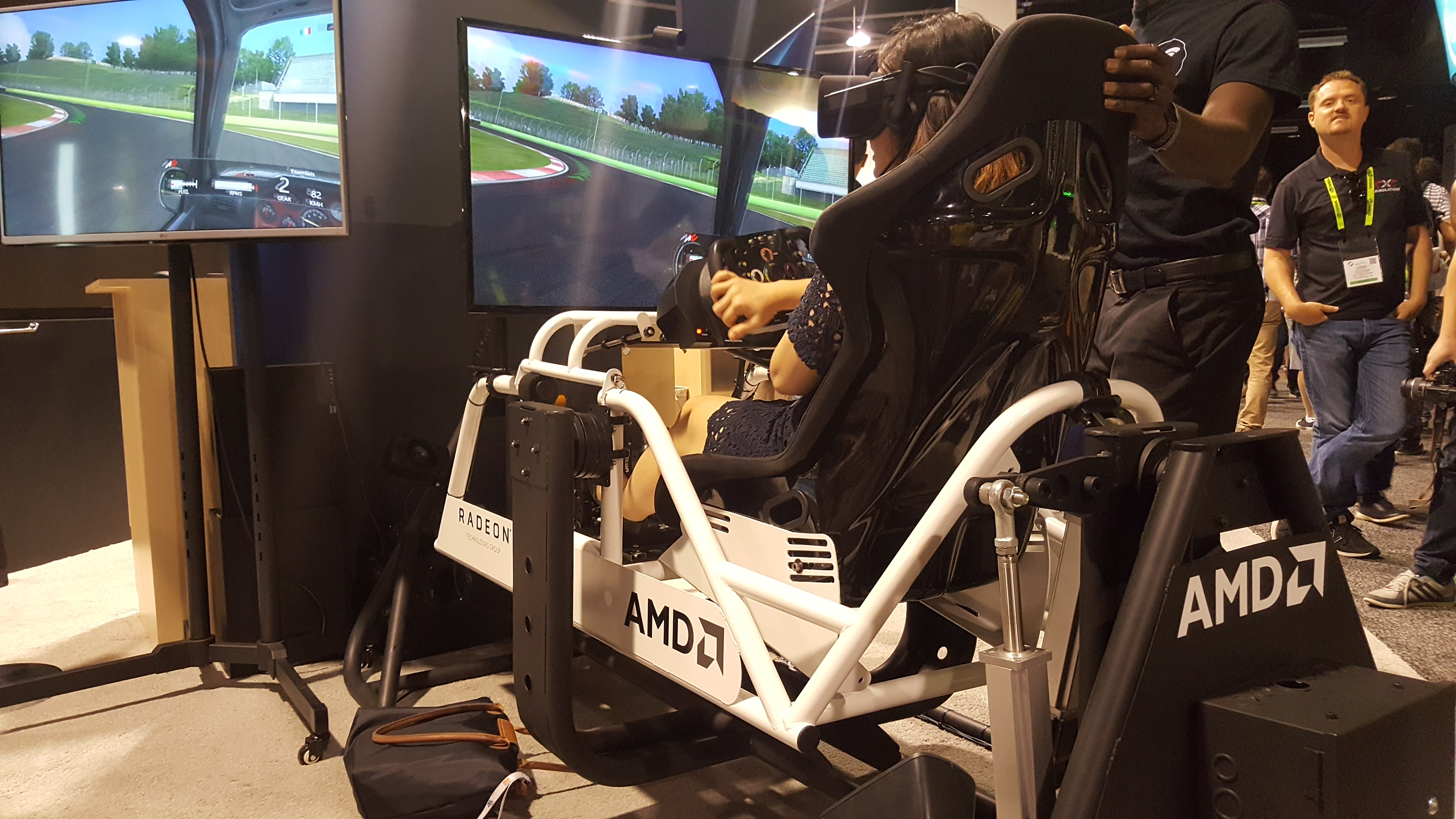 AMD Powered, VR equipped, SimCraft full motion simulator was available for folks to try out at the Radeon Booth.
