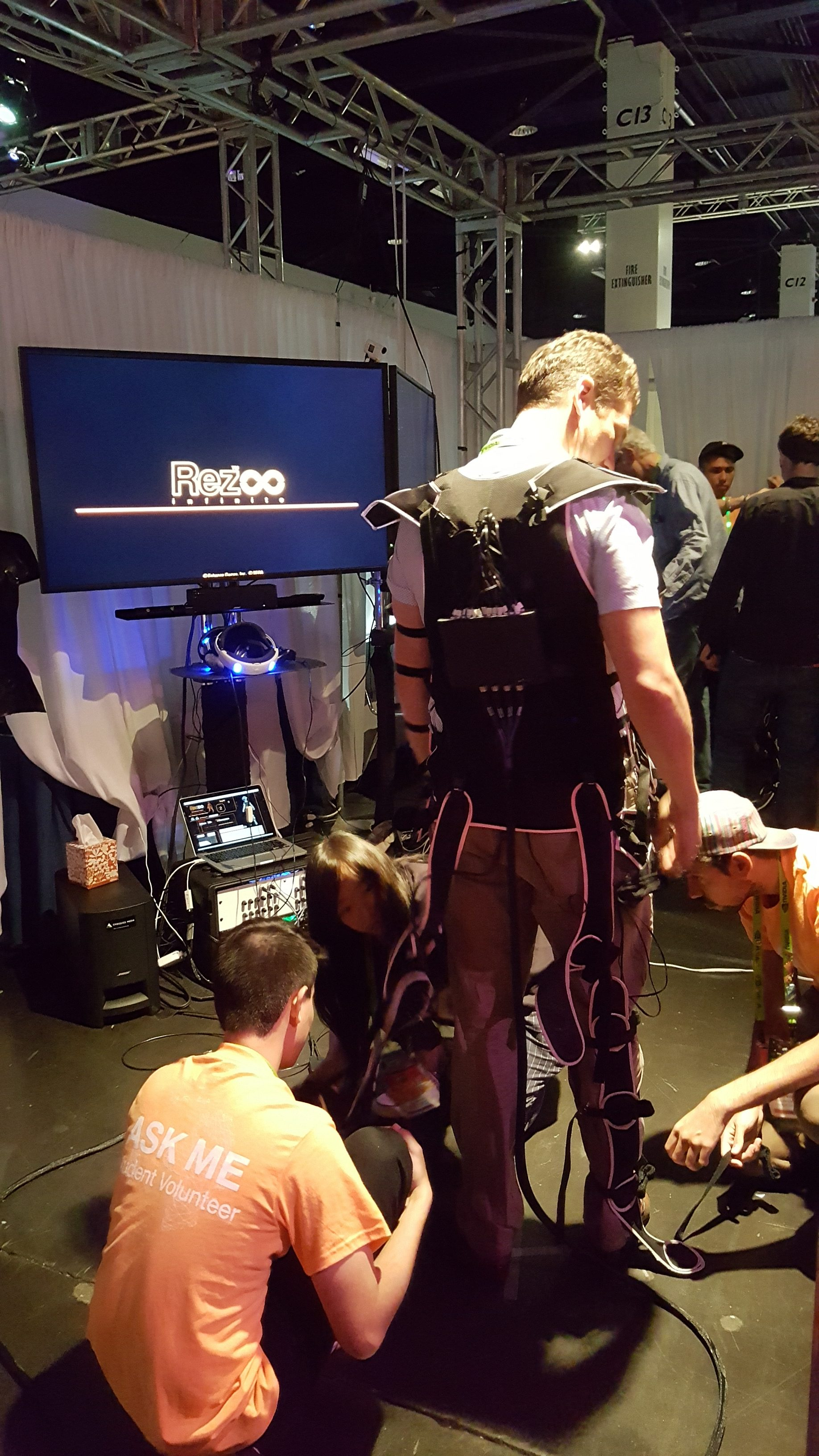 The Embodied Media Project in Keio University Graduate School of Media Design brought Haptic body suits to help further the immersive experience of VR